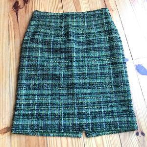 J. Crew Green Metallic Tweed Pencil Skirt sz 2